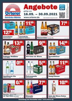 Angebote von Orterer Getränkemarkt im Orterer Getränkemarkt Prospekt ( Gestern veröffentlicht)