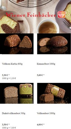 Wiener Feinbäcker Katalog ( Abgelaufen )