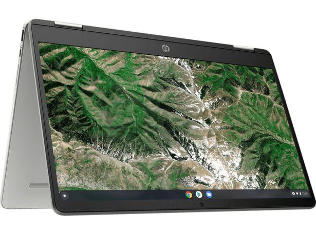 HP Chromebook x360 14a-ca0330ng, Plus Chromebook mit 14 Zoll Display Touchscreen, Intel® Pentium® Silver Prozessor, 4 GB RAM, 64 GB eMMC, UHD Graphics 605, Silber für 379,99€